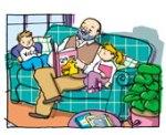 grandpa reading to children pic